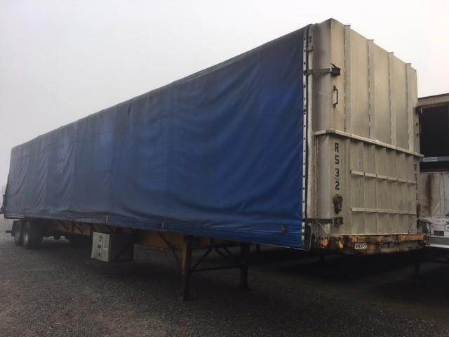 2002 Lode King AIR RIDE FLATBED WITH CONESTOGA ROLL TOP Curtain Side Trailer