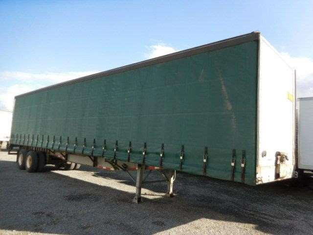 1998 NUVAN 48u0027 AIR RIDE CURTAIN VAN  FLATBED Curtain Side Trailer