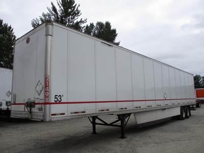 2012 Great Dane 53 ft Dry Van Trailer - Swing Door, Spring, Sliding Axle