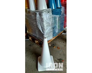 """Lot of (5) 28"""" White Wide Base Traffic Cones"""