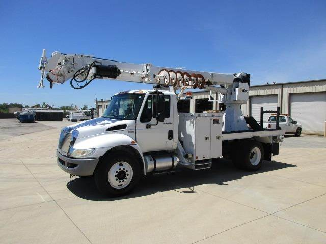 2012 International 4300 Single Axle Digger Derrick Truck, M Drive with  ALTEC DM47TR Digger Derrick