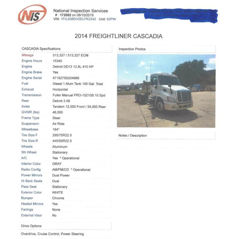2014 Freightliner Cascadia Day Cab Truck - Detroit DD13, 10 Speed Manual  Transmission, 513K Miles