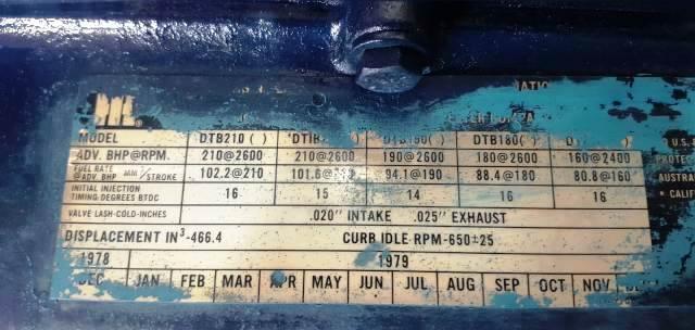 1979 International DT466 Diesel Engine Model DTB180 Mechanical Fuel Pump  Turbocharged Inline 6-Cyl Runs Perfect