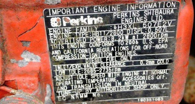 2006 Perkins 400-Series HB11/2800 Diesel Engine 8 2KW  507L Fam#  6H3XL 507E2V Mechanical 2-Cylinder APU Rigmaster Motor