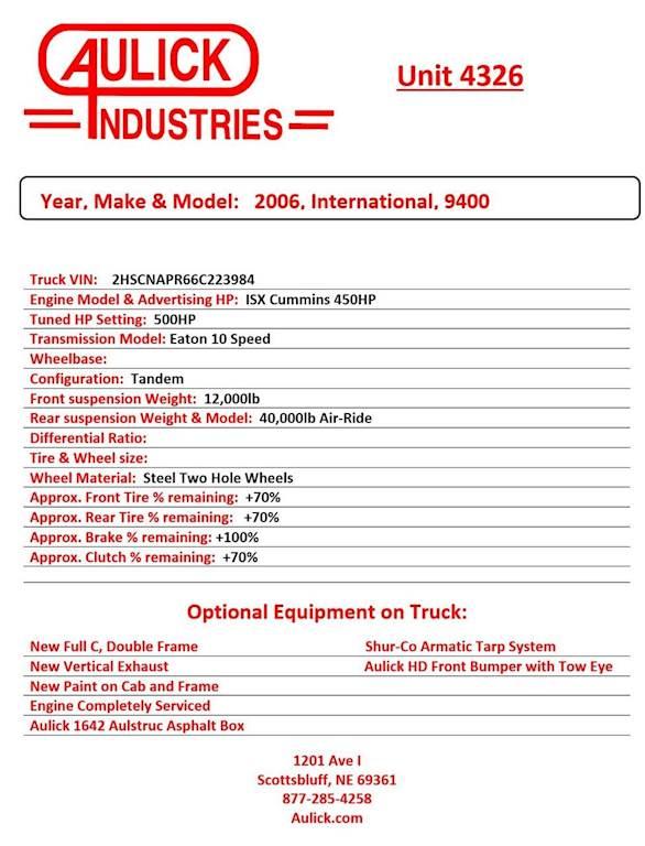 2006 International 9400 Dump Truck For Sale, 503,000 Miles