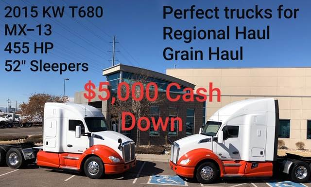 2015 Kenworth T680 Sleeper Semi Truck, 10 Speed UltraShift, Grain Hauler,  455HP, 52